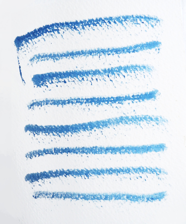 Many rough horizontal brush-strokes in blue semi-transparent water-based paint on rough watercolor paper, with white background.