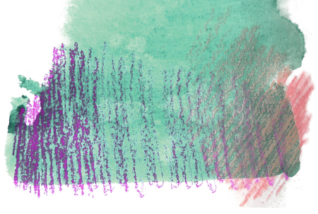mixedmedia: Artistic texture of cyan or turquoise watercolor and rough pastels hatching in purple and red, on rough watercolor paper, white background.