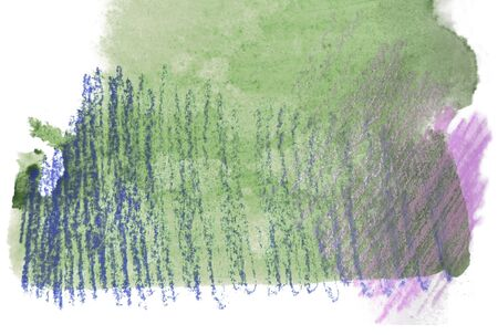 mixedmedia: Artistic texture of green watercolor and rough pastels hatching in purples, on rough watercolor paper, white background.