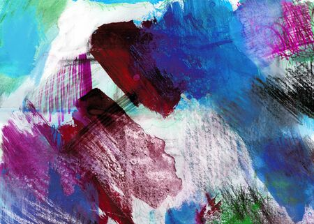 mixedmedia: Mixed-media textured areas with paint and pastels, random marks and textures, predominant colors of blue and crimson.