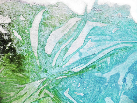 Closeup of organic painted texture with fascinating organic forms and textures from pigment drying under wrinkled plastic on paper, blue, green.