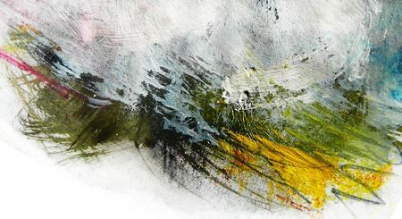 mixedmedia: Mixed-media textured areas with paint, colored pencils and pastels, random marks and textures, predominant colors of green, yellow. Stock Photo
