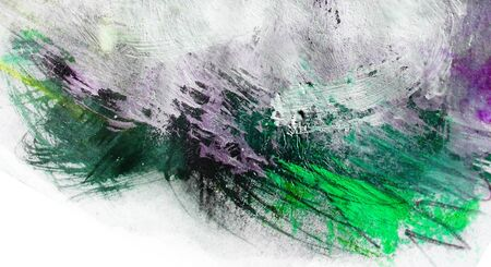 Mixed-media textured areas with paint, colored pencils and pastels, random marks and textures, predominant colors of green, purple. Stock Photo