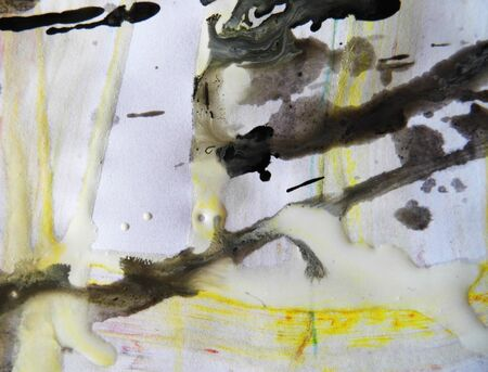 Paint splashes, brush marks, runs and texture, black, white, yellow.