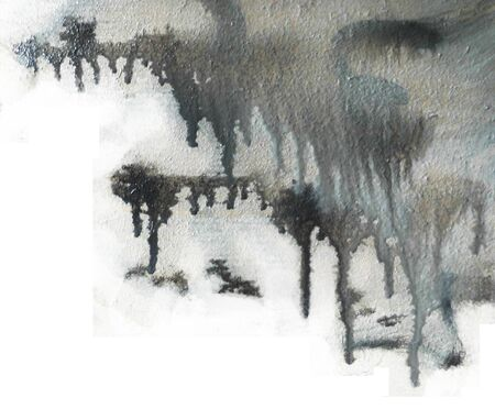 Black and white paints dripping, running and mixing on wet rough board. Stock Photo