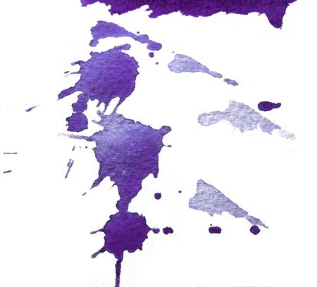 Closeup paint splashes on rough watercolor paper, purple texture.