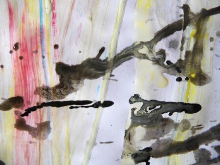 Paint splashes, brush marks, runs and texture, black, white, yellow, red. Imagens