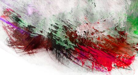 Mixed-media textured areas with paint, colored pencils and pastels, random marks and textures, predominant color of red.