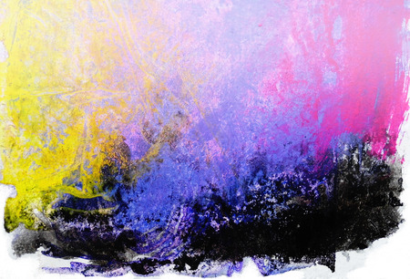 Organic painted texture with fascinating organic forms and textures from pigment drying under wrinkled plastic, yellow, purple, magenta tints.
