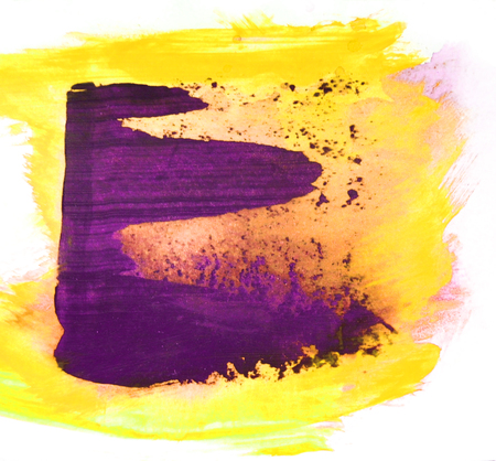 Smeared semi-transparent paint and brush marks marks on white paper, magenta and yellow paint, white background, artistic background painted texture.