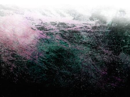 Artistic gradation texture background with rough brush marks and scratches on rough board, artistic background texture, magenta and green tints. Stock Photo
