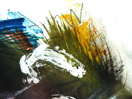 mixedmedia: Artistic texture background with rough brush marks with colored pencil and markers on rough board, artistic background texture, yellow, green and blue. Stock Photo