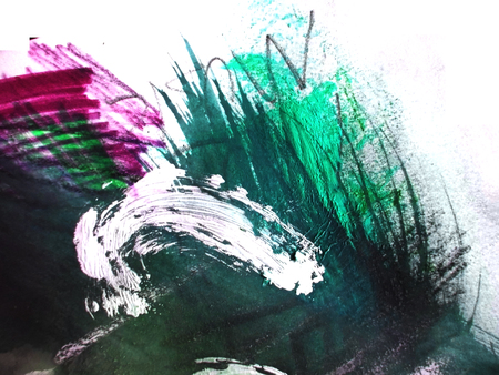 mixedmedia: Artistic texture background with rough brush marks with colored pencil and markers on rough board, artistic background texture, blue, green and purple.