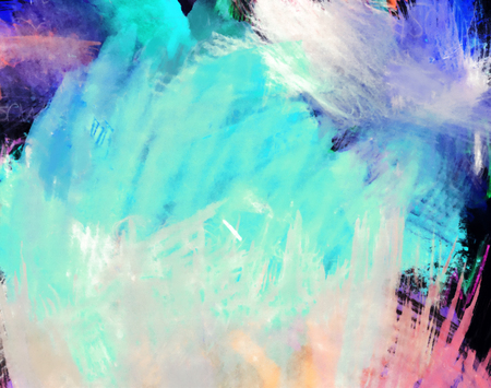 mixedmedia: Artistic texture background with rough paint brush marks, colored pencil, pastels and markers on paper, artistic background texture, predominantly cyan or turquoise Stock Photo