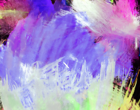 mixedmedia: Artistic texture background with rough paint brush marks, colored pencil, pastels and markers on paper, artistic background texture, predominantly purple. Stock Photo