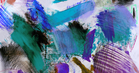 mixedmedia: Artistic texture background with rough paint brush marks, colored pencil, pastels and markers on paper, artistic background texture, blue and purple.