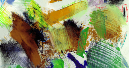 mixedmedia: Artistic texture background with rough paint brush marks, colored pencil, pastels and markers on paper, artistic background texture, warm brown and green Stock Photo