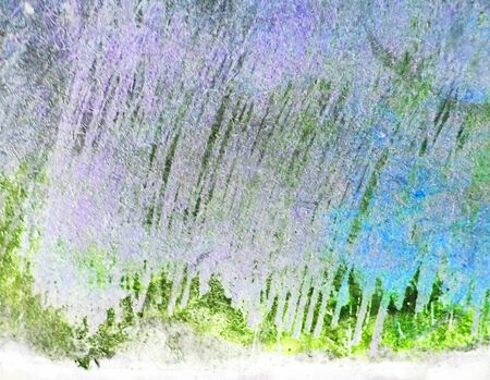 Artistic  texture background with rough brush marks and scratches on rough fibrous board, artistic background texture, blue, purple and green tints. Stock Photo