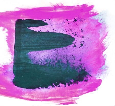 Smeared semi-transparent paint and brush marks marks on white paper, blue-green and magenta paint, white background, artistic background painted texture.