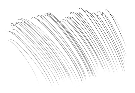 Pencil marks, lots of slightly curved lines made by a soft pencil on paper. Stock Photo