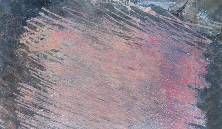 Painted scratched texture area with rough brush marks on rough board, magenta tints, artistic background texture.