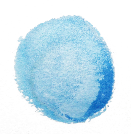 Watercolor circle, roughly circular blue watercolor painted area on rough watercolor paper, isolated on white background.