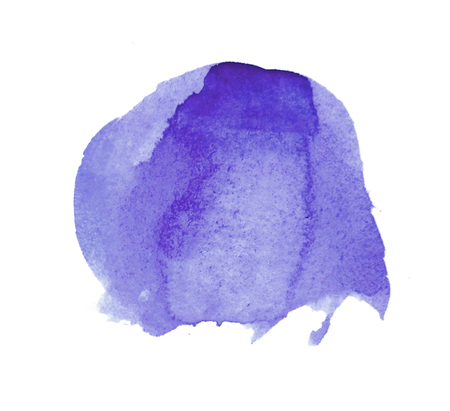 Watercolor circle, roughly circular purple watercolor painted area on rough watercolor paper, isolated on white background. Stock Photo
