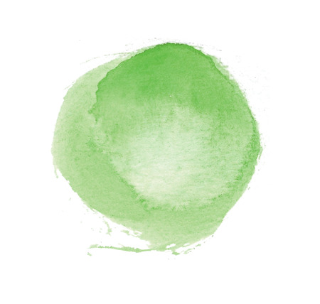Watercolor circle, roughly circular yellow-green watercolor painted area on rough watercolor paper, isolated on white background.