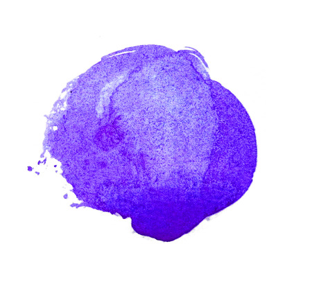 Watercolor circle, a roughly circular purple watercolor painted area on rough watercolor paper, isolated on a white background.