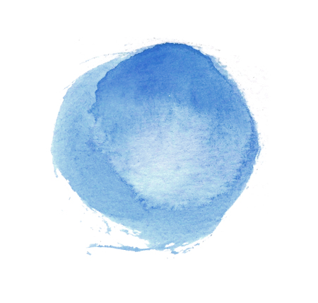 Watercolor circle, a roughly circular blue watercolor painted area on rough watercolor paper, isolated on a white background.