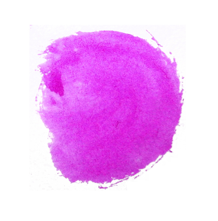 Watercolor circle, roughly circular magenta watercolor painted area on rough watercolor paper, isolated on white background.