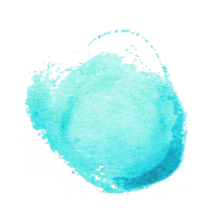 Watercolor circle, roughly circular cyan or turquoise watercolor painted area on rough watercolor paper, isolated on white background.