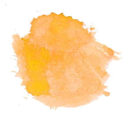 Watercolor circle, a roughly circular warm yellow watercolor painted area on rough watercolor paper, isolated on a white background. Stock Photo