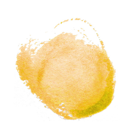 Watercolor circle, a roughly circular yellow watercolor painted area on rough watercolor paper, isolated on a white background.