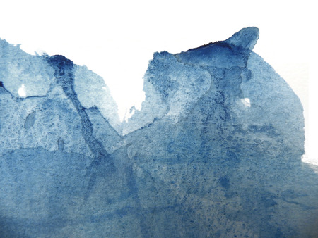 Watercolor texture with faint lines on rough watercolor paper, artistic painted background texture, blue, on white background. Stock Photo