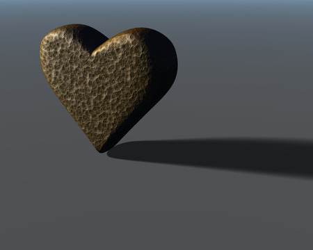 3D heart model with subtle bronze colored hammered metal surface texture, lit from the side, with shadow, on gray surface.