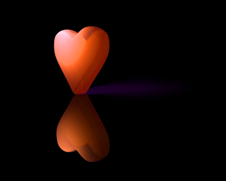 Oranje doorschijnend 3D-hart met reflectie op glanzend oppervlak en paarse schaduw, donkere achtergrond.