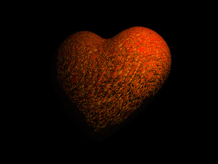 3D heart model with organic bumpy surface, orange, on black background.