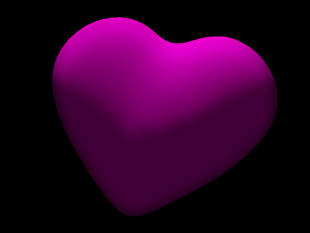 Magenta heart shape on black background, 3D model rounded heart shape, partially lit with oblique lighting, against a black background. Stock Photo