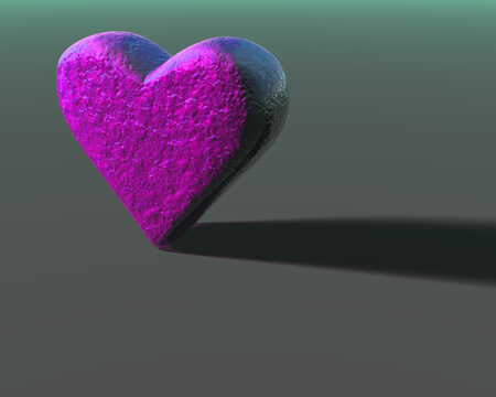 Magenta 3D heart model with subtle organic bumpy surface texture, lit from the side, with shadow on a gray surface. Stock Photo