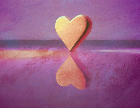 Oil paint style 3D heart shape lit by multiple colored lights, semi-gloss material, standing on end, purple and yellow.