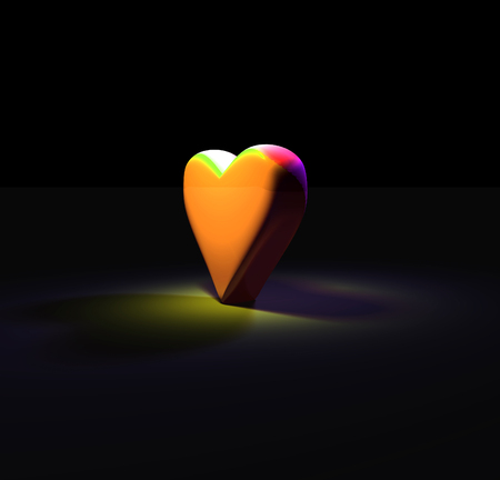 3D heart shape lit by a diffuse colored spotlights from above and to the sides, with diffuse shadows on smooth gray surface, upright heart model with shiny yellow material.