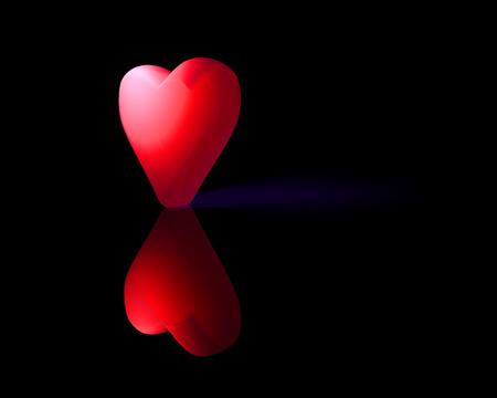 Rood doorschijnend 3D-hart met reflectie op glanzend oppervlak en paarse schaduw, donkere achtergrond. Stockfoto