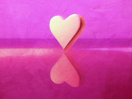 Oil paint style 3D heart shape lit by multiple colored lights, semi-gloss material, standing on end, red, magenta, yellow.
