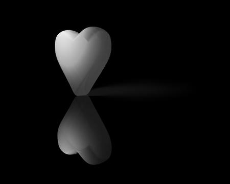 Wit doorschijnend 3D-hart met reflectie op glanzend oppervlak en schaduw, donkere achtergrond. Stockfoto