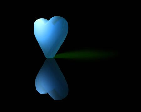 semitransparent: blue translucent 3D heart with reflection on shiny surface and green shadow, dark background.