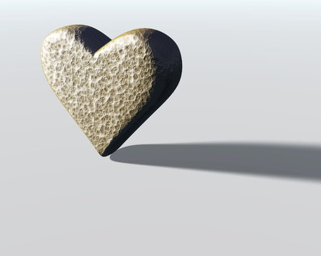 3D heart model with gray hammered metal surface texture, lit from the side, with shadow, on pale gray surface. Stock Photo