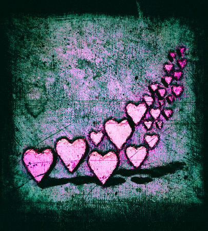 Cartoon style pic of many 3D hearts, a group of different sized magenta heart shapes with shadows, grungy cartoon sketch style, on a green tinted grunge texture background with dark vignette.