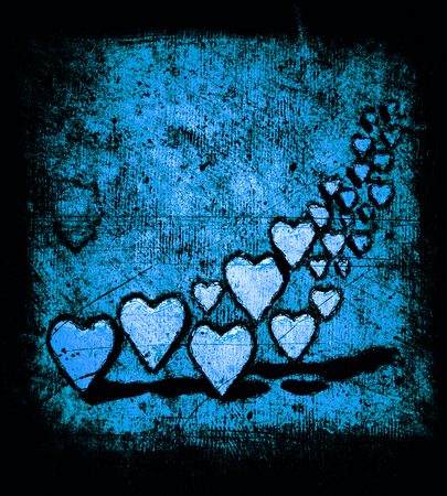 Cartoon style image of many 3D hearts, a group of different sized heart shapes with shadows, grungy cartoon sketch style, on a grunge texture background with dark vignette, blue tints. 版權商用圖片