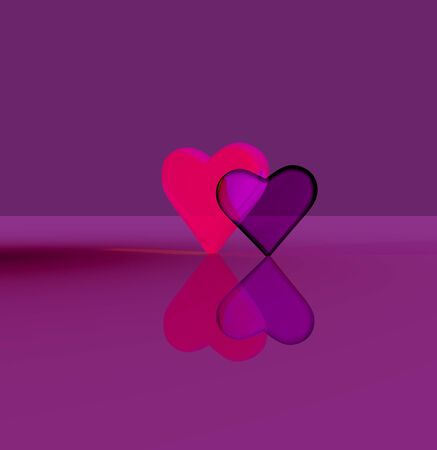 A pair of 3D heart shapes, two glass hearts close together, one transparent, standing up on a shiny surface, lit by multiple light sources, vivid magenta and red tints.